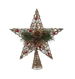 Kurt Adler Christmas Tree Topper Coastal Rope Star w Pinecones n Berries