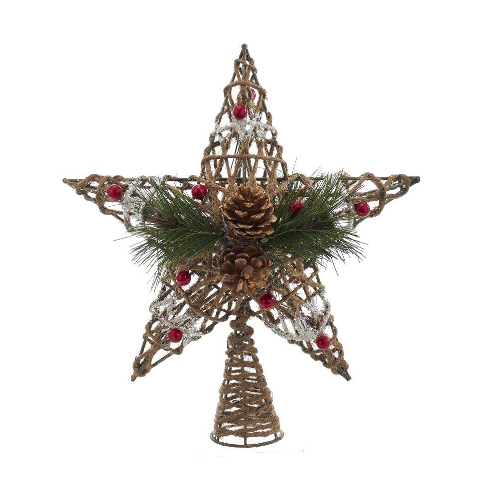 Kurt Adler Christmas Tree Topper Coastal Rope Star W Pinecones N Berries