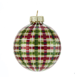 Kurt Adler Red Green Plaid Glass Ball Ornaments Set of 6 80mm