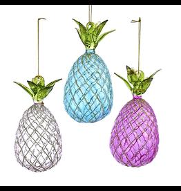 Kurt Adler Glass Pineapple Ornaments Assorted 3pc Set