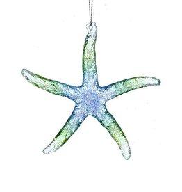 Kurt Adler Acrylic Glitter Starfish Ornament 5 Inch Translucent Blue Green