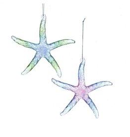 Kurt Adler Starfish Ornaments Glittered Translucent Acrylic 2pc Set 5 Inch