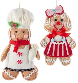 Kurt Adler Gingerbread Cookie Doll Christmas Ornaments Girl Boy 2pc Set