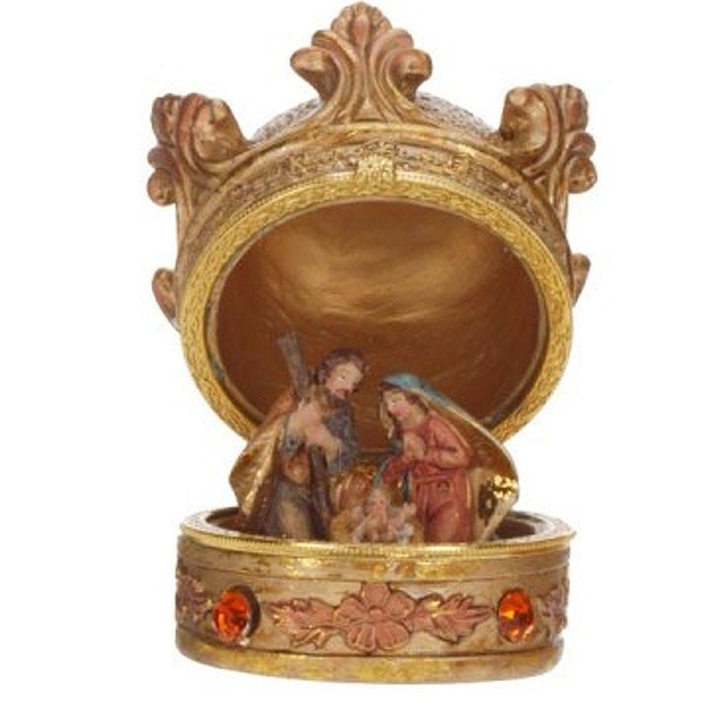 Jesus Christmas Decorations.Mark Roberts Christmas Decorations Crown Box Nativity Holy Family W Baby Jesus Table Decoration