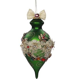 Mark Roberts Christmas Decorations Vintage Floral Kings Jewel Green Finial Ornament 8 Inch