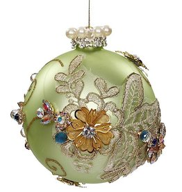 Mark Roberts Christmas Decorations Vintage Floral Kings Jewel Mint Ball Ornament 4.5 Inch