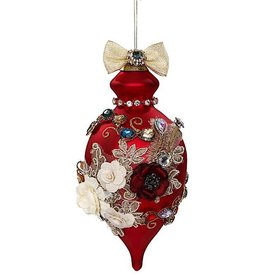 Mark Roberts Christmas Decorations Vintage Floral Kings Jewel Finial Ornament 8 Inch Red Drop