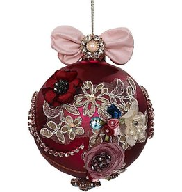 Mark Roberts Christmas Decorations Vintage Floral Kings Jewel Ball Ornament 4.5 Inch Burgundy
