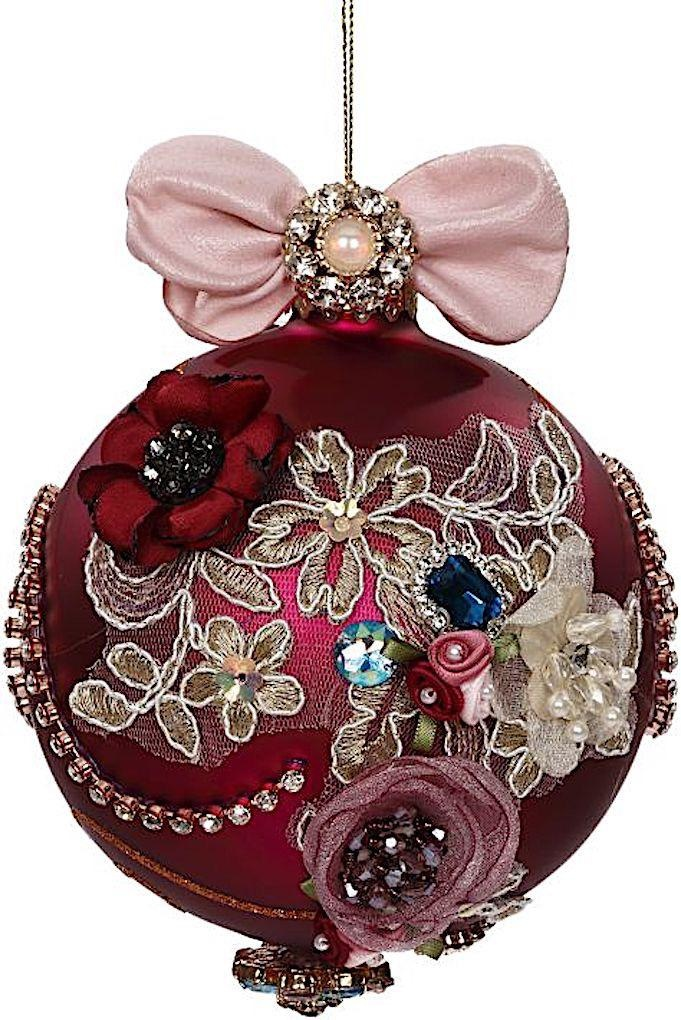 Vintage Floral Kings Jewel Ball Ornament 4.5 Inch Burgundy