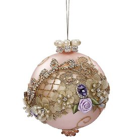 Mark Roberts Christmas Decorations Vintage Floral Kings Jewel Ball Ornament 5 Inch Pink