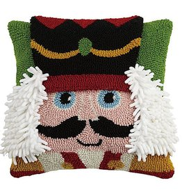 Peking Handicraft Christmas Nutcracker Hook Pillow BF 14x14 Inch Square