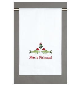 Peking Handicraft Merry Fishmas Mistletoe Christmas Kitchen Towel 16x25