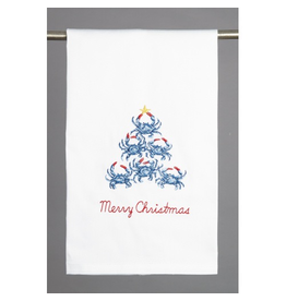 Peking Handicraft Merry Christmas Blue Crab Tree Kitchen Towel 16x25