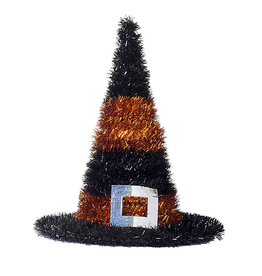 Darice Halloween Tinsel Witch Hats 10 Inch Orange Stripes
