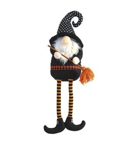 Mud Pie Halloween Gnomes Sitting In Witch Hat W Broom 25x6