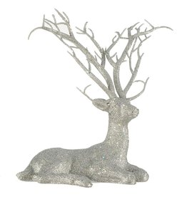 Darice Laying Deer Decoration Silver Glitter 8x11 Inch