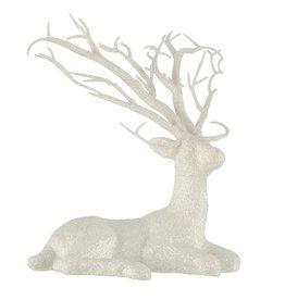 Darice Laying Deer Decoration White Glitter 8x11 Inch
