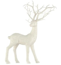 Darice Standing Deer Decoration White Glitter 12.5x15 Inch