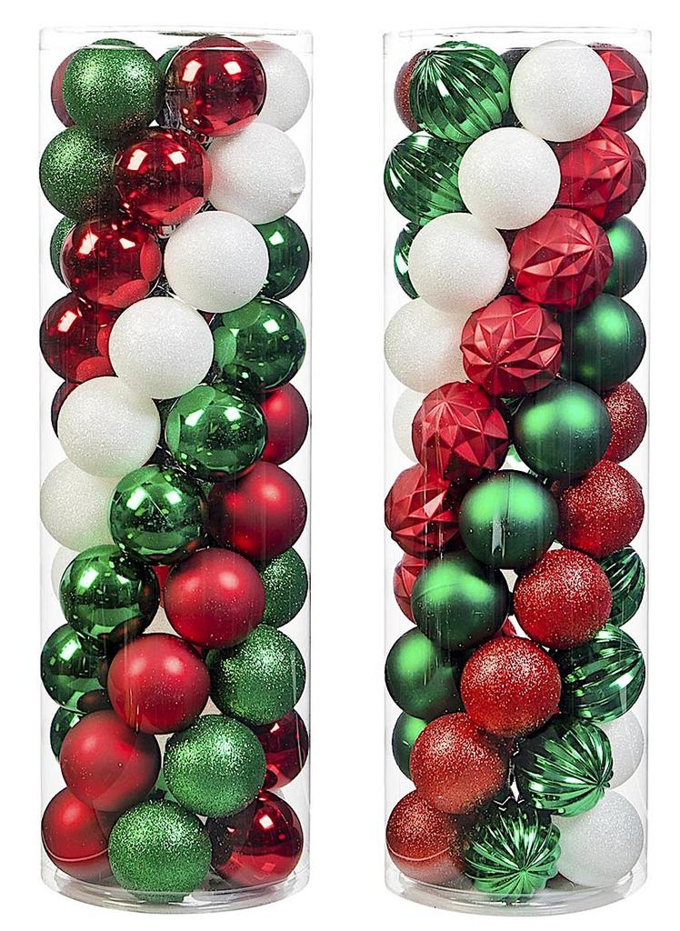 Christmas Bulbs.Darice Shatterproof Plastic Christmas Ornaments 57mm 100pc Green Red White A B