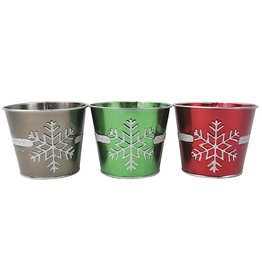 Darice Snowflakes Christmas Tin Pots Containers 5x4.25 Inch 3 Asst