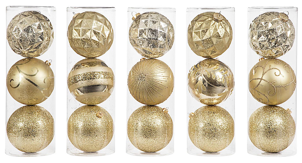 Darice Large Ball Ornaments Gold 15pk 150mm Shatter-Proof