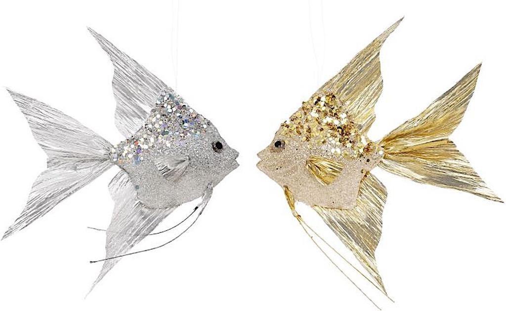Mark Roberts Angel Fish Ornaments 10x8.5x1.75 Inch Set of 2
