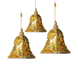 Katherine's Collection Gold Encrusted Bell Christmas Ornaments Set of 3