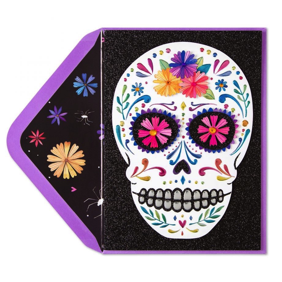 PAPYRUS® Halloween Day of the Dead Card Colorful Skull