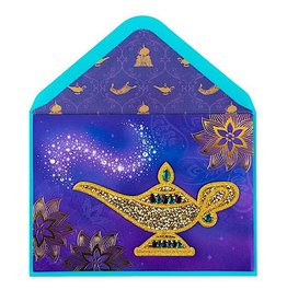 PAPYRUS® Birthday Card Golden Wishes Aladdin Lamp Patch