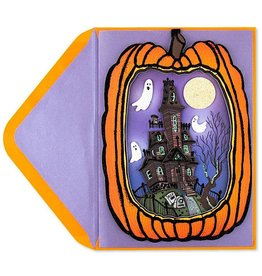 PAPYRUS® Halloween Cards Hangable Pumpkin W Haunted House Scene