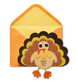 PAPYRUS® Thanksgiving Cards Handmade Felt Turkey W Happy Turkey Day