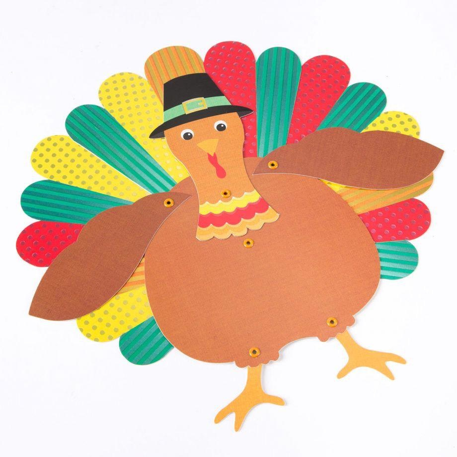 PAPYRUS® Thanksgiving Cards Pose-able Articulated Turkey With Pie