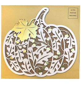 PAPYRUS® Thanksgiving Cards Diecut Laser Pumpkin
