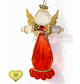 Kurt Adler Birthstone Angel Ornaments 3.25 Inch JULY Ruby