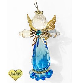 Kurt Adler Birthstone Angel Ornaments 3.25 Inch DECEMBER Green Zircon