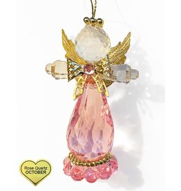 Kurt Adler Birthstone Angel Ornaments 3.25 Inch OCTOBER Rose Quartz