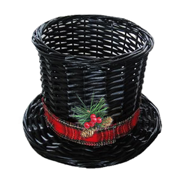 Darice Christmas Snowman Top Hat Wicker Basket - Large 13Dx8.5H