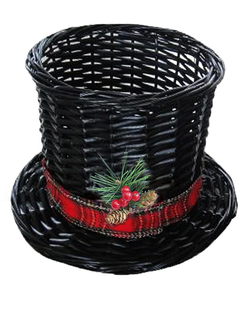 Christmas Top Hat.Darice Christmas Snowman Top Hat Wicker Basket Large 13dx8 5h