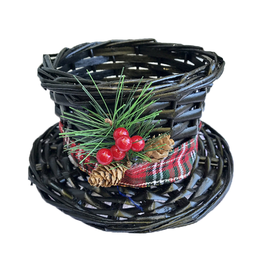 Darice Christmas Snowman Top Hat Wicker Basket - Small 7.5Dx4.5H