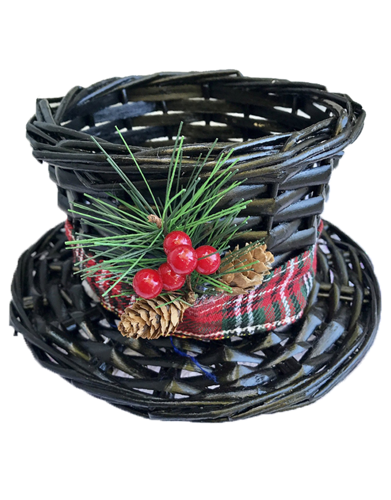 Christmas Top Hat.Darice Christmas Snowman Top Hat Wicker Basket Small 7 5dx4 5h