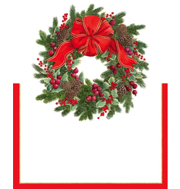 Caspari Christmas Place Cards Tent Style 8pk Evergreen Wreath
