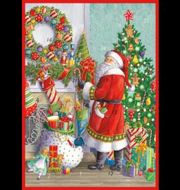 Caspari Christmas Advent Calendar Card Santa At The Mantel