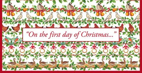The 12 Days Of Christmas.Caspari Christmas Money Card 12 Days Of Christmas