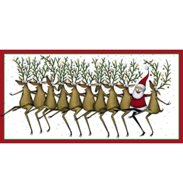 Caspari Christmas Money Card Santas Kickettes Dancing Reindeers