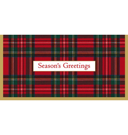 Caspari Christmas Money Cards Pack of 4 Royal Plaid Seasons Greetings
