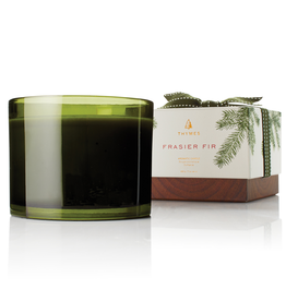 Thymes Frasier Fir Candle 3-Wick 17 Oz Green Glass