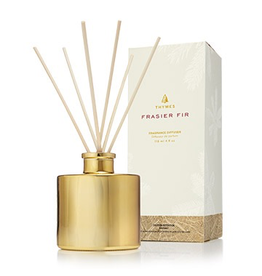 Thymes Frasier Fir Reed Diffuser Set Petite Gold 4oz