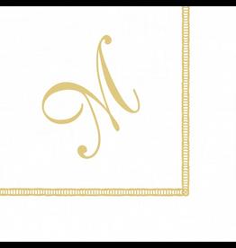 Caspari Monogram Initial M Paper Cocktail Napkins 20pk