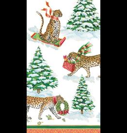 Caspari Christmas Paper Guest Towel Napkins 15pk Leopards In Snow