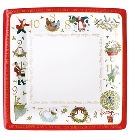 Caspari Christmas Paper Dinner Plates 8pk Square On The 12th Day
